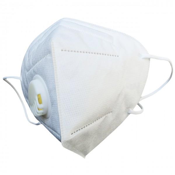 KN95 Mund-Nasen-Maske mit Ventil weiß